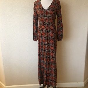 Forever 21 floral maxi dress long sleeve size m